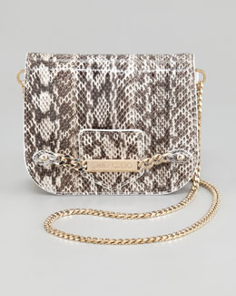 Jimmy Choo Shadow Snakeskin Crossbody Bag, Natural