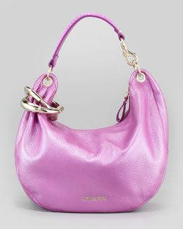 Jimmy Choo Solar Small Metallic Hobo Bag, Orchid