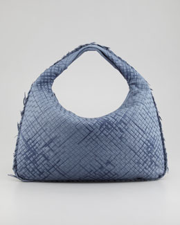 Bottega Veneta Large Veneta Hobo Bag with Fringe, Blue