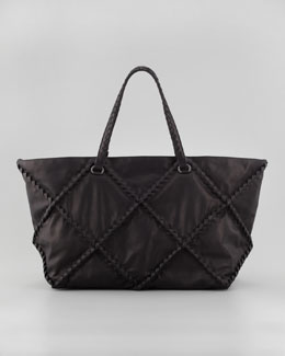 Bottega Veneta Intrecciato Woven Stitched East-West Tote Bag, Black