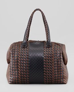Bottega Veneta Bicolor Double-Handle Woven Tote Bag, Black/Brown