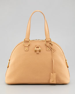 Saint Laurent Muse Medium Calfskin Dome Bag, Natural