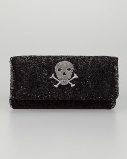 Moyna Skull Beaded Fold-Over Clutch Bag, Black