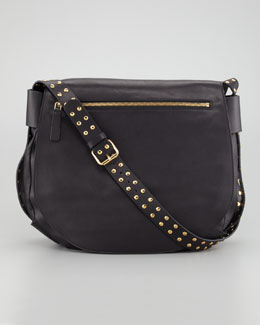 Marni Studded Strap Messenger Bag, Charcoal