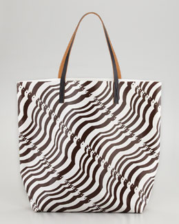 Marni Mixed-Print Dove/Floral Tote Bag