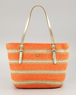 Eric Javits Jav Striped Squishee Tote Bag, Tangerine
