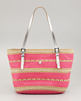 Eric Javits Jav Striped Squishee Tote Bag, Fuchsia