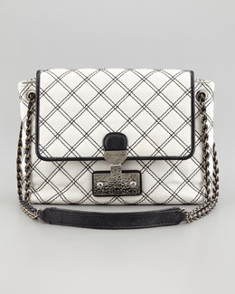 Marc Jacobs The Single Baroque Large Two-Tone Quilted Bag, White/Black