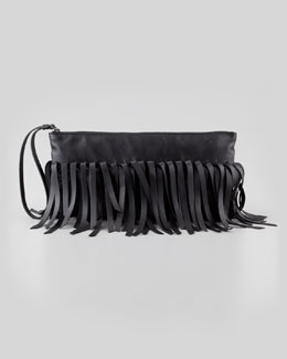Bottega Veneta Fringe Lambskin Clutch Bag, Black