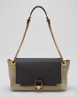 Lanvin New Partition Shoulder Bag, Dark Gray