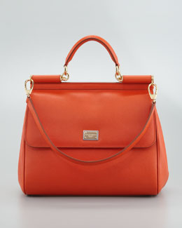 Dolce & Gabbana New Miss Sicily Leather Handbag, Orange