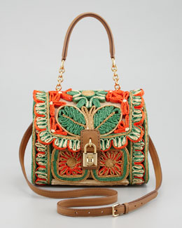 Dolce & Gabbana Miss Dolce Floral Raffia Satchel Bag, Red/Green