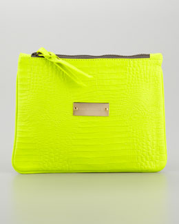 Cynthia Vincent Crocodile-Embossed Pouch, Citrine