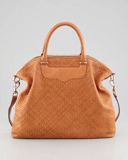 Rebecca Minkoff Bonnie Box Woven Leather Satchel Bag, Almond