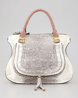 Chloe Marcie Large Lizard-Print Leather Shoulder Bag