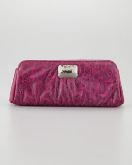 Lauren Merkin Crosby Double Lizard-Print Clutch Bag, Fuchsia