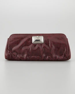 Lauren Merkin Crosby Double Lizard-Print Clutch Bag, Burgundy