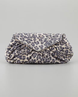 Lauren Merkin Diana Washed Leopard-Print Clutch Bag