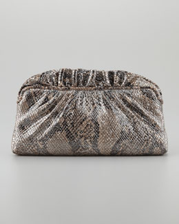 Lauren Merkin Georgie Cobra Metallic Ruffle-Top Clutch Bag, Natural/Black