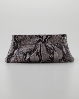 Lauren Merkin Eve Shiny Python Clutch Bag, Gray/Black