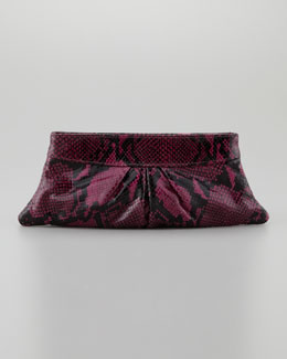 Lauren Merkin Eve Shiny Python Clutch Bag, Amethyst/Black