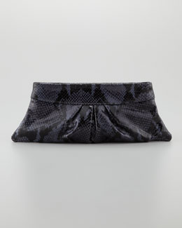 Lauren Merkin Eve Shiny Python Clutch Bag, Navy/Black