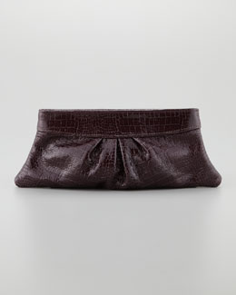 Lauren Merkin Eve Shiny Baby Crocodile Clutch Bag, Merlot
