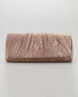 Lauren Merkin Caroline Python Metal Clutch Bag, Nude/Gold