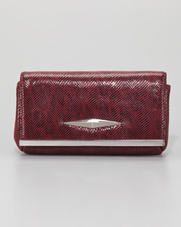 Lauren Merkin Essex Double Lizard-Print Clutch Bag, Burgundy