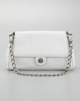 Donna Karan Chain Link Embossed Leather Shoulder Bag, Light