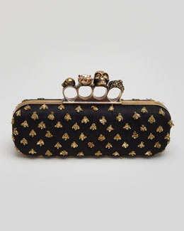 Alexander McQueen Bees Long Knuckle Box Clutch Bag