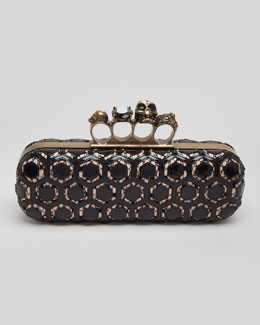 Alexander McQueen Long Honeycomb-Pattern Knuckle Box Clutch, Black