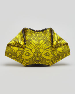 Alexander McQueen De-Manta Butterfly-Print Clutch Bag, Bright Yellow
