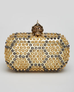 Alexander McQueen Bee Punk Skull Studded Clutch Bag, Gold