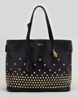 Alexander McQueen Studded Padlock Medium Shopper Bag, Black