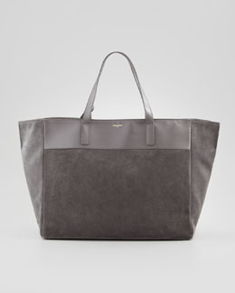 Saint Laurent Reversible Leather/Suede East-West Tote Bag, Gray