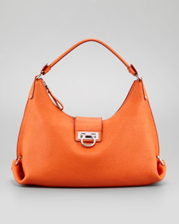 Salvatore Ferragamo Fanisa Gancini Hobo Bag, Orange