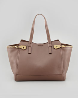 Salvatore Ferragamo Verve Light Zip-Side Tote Bag, Taupe