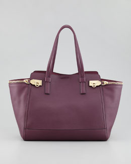 Salvatore Ferragamo Verve Light Zip-Side Tote Bag, Purple