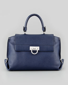 Salvatore Ferragamo Sofia Small Satchel Bag, Navy