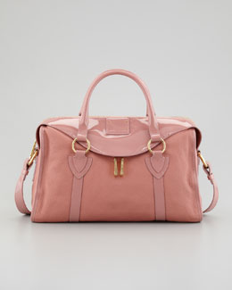 Marc Jacobs Fulton Large Patent-Trim Satchel Bag, Rose
