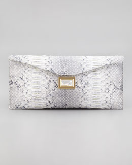 Kara Ross Super Stretch Prunella Python Clutch Bag, Gray