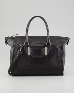 Milly Kelly Glazed Leather Satchel Bag, Black