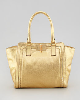 Milly Emma Metallic Snake-Embossed Tote Bag, Gold