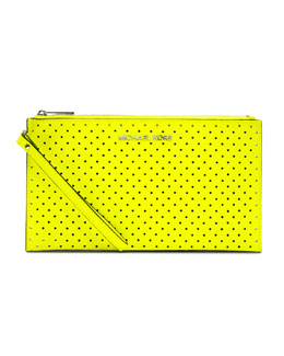 MICHAEL Michael Kors  Large Jet Set Perforated Zip Clutch
