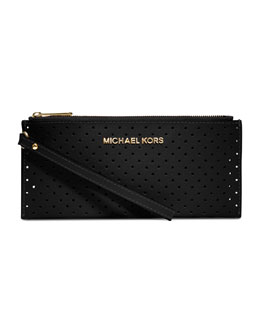 MICHAEL Michael Kors  Small Jet Set Perforated Saffiano Clutch
