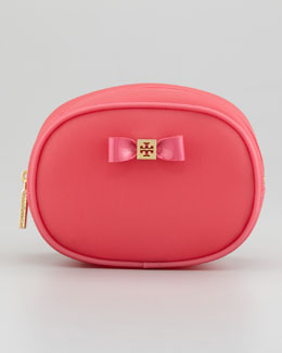 Tory Burch Small Jelly Bow Cosmetic Case, Strawberry
