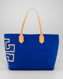 Tory Burch Canvas Stacked-Logo Tote Bag, Royal Ocean