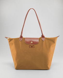 Longchamp Le Pliage Monogrammed Large Shoulder Tote Bag, Camel
