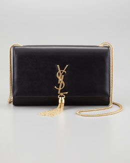 Saint Laurent Cassandre Large Tassel Shoulder Bag, Black